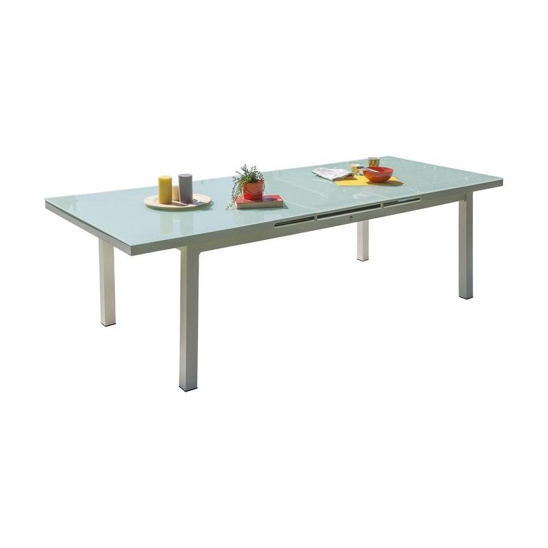 Table de jardin Mykonos verre rectangulaire blanc 6/10 personnes ...