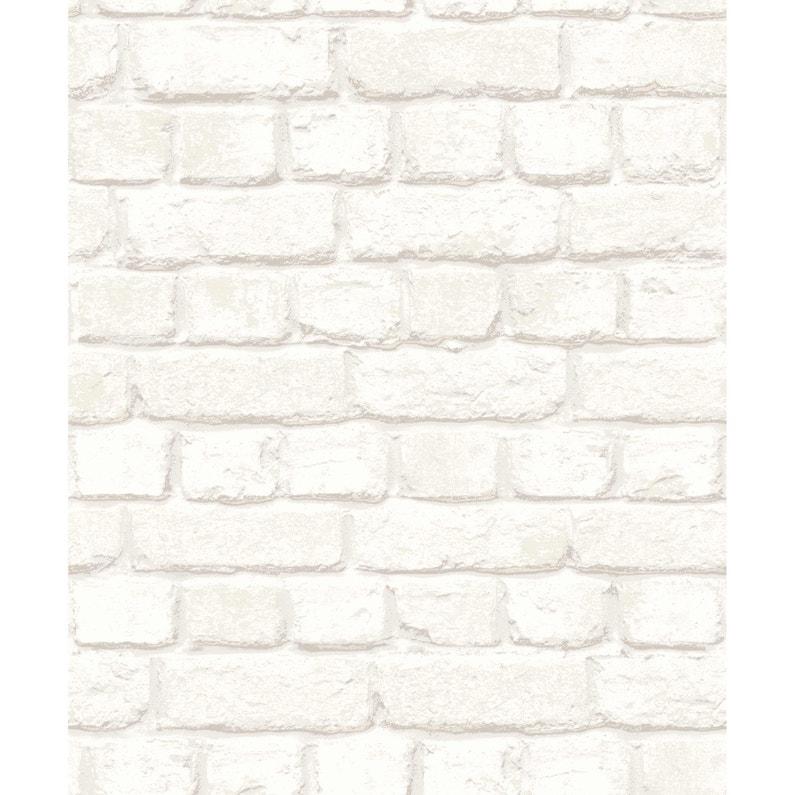 Papier Peint Intisse Brique 3d Blanc Leroy Merlin
