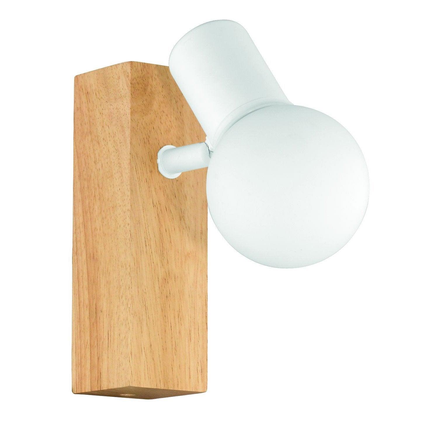 Spot patère g9, industriel, bois blanc, EGLO Townshend