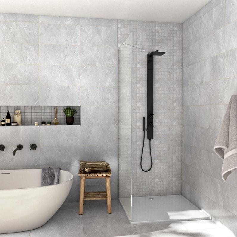 Nouvel Carrelage mur et sol marbre gris mat l.60 x L.6 cm, Rialto WI-79