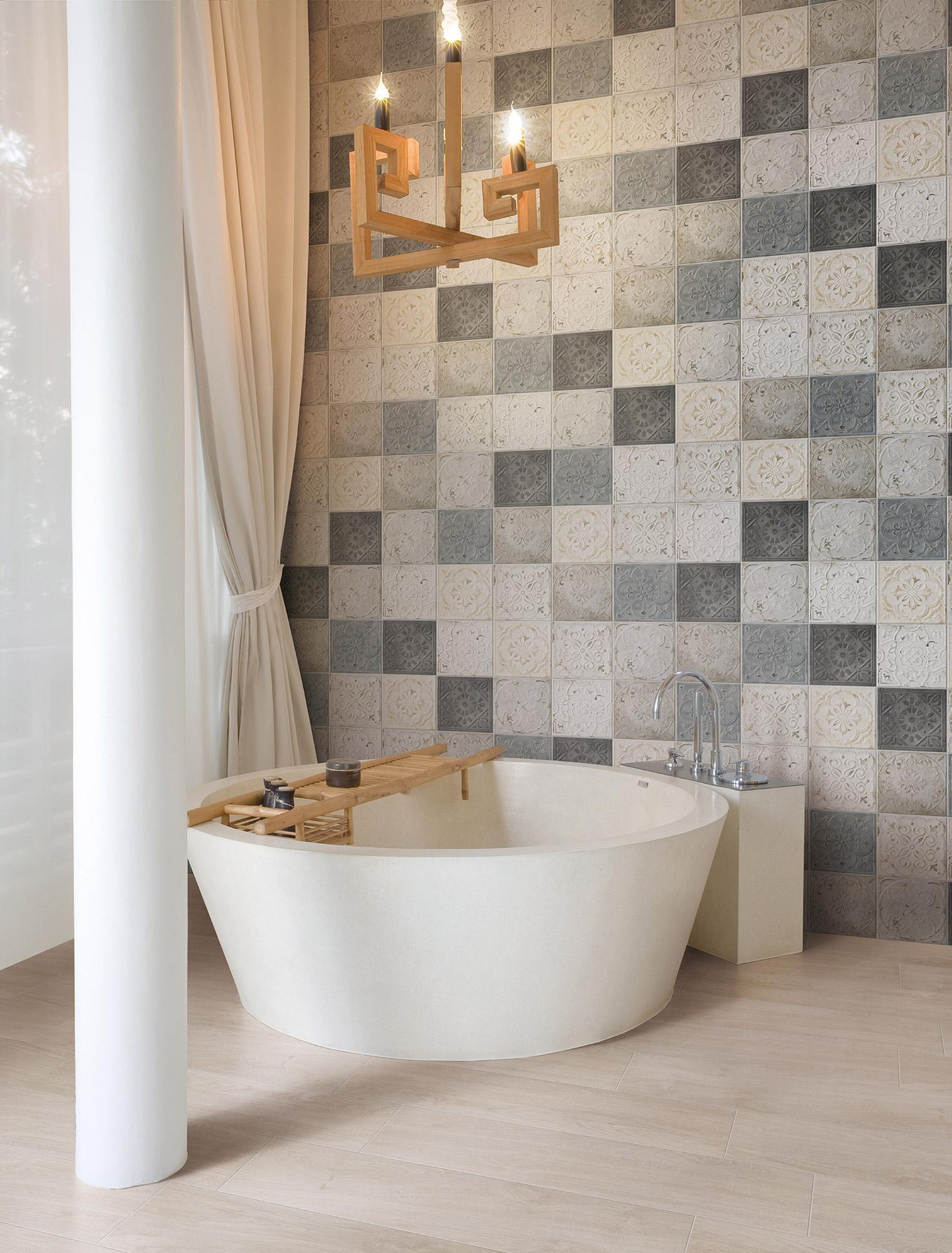 Carrelage mur et sol carreau de ciment multicouleur mat l.20 x L.20 cm, Victoria