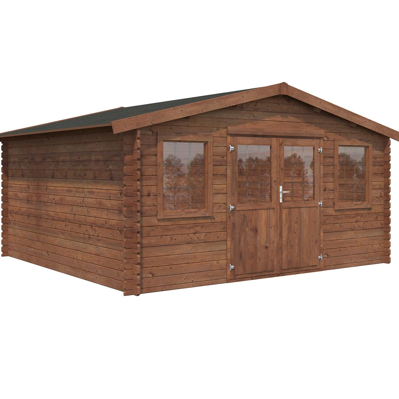 Quel Bois Pour Cabane De Jardin abri de jardin bois naterial kendo axess+ traité autoclave ep.34 mm, 16.3 m²