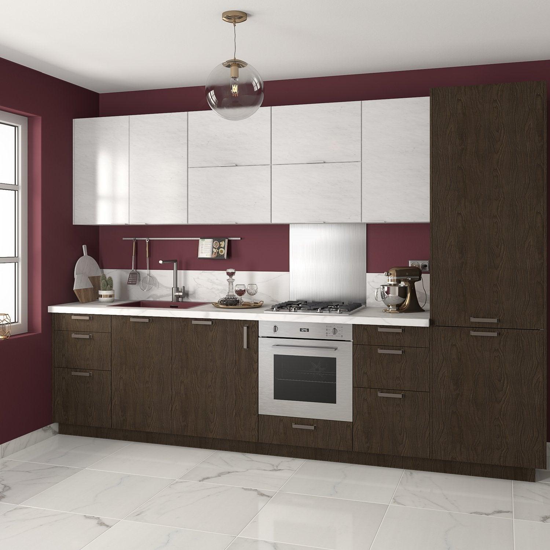 Cuisine Blanc Gris Violet cuisine en i, décor bois foncé et blanc brillant | leroy merlin