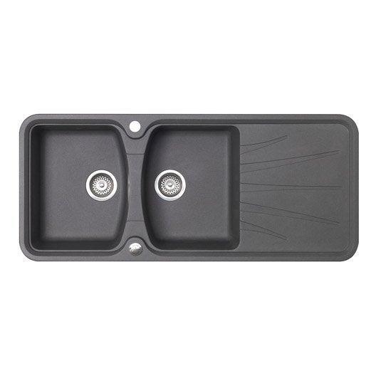 evier encastrer granit et r sine gris m tallis korona. Black Bedroom Furniture Sets. Home Design Ideas
