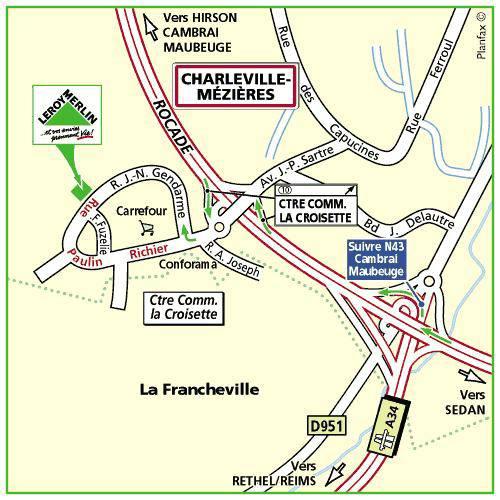 Plan d'accès au magasin Leroy Merlin de Valenciennes (la sentinelle)