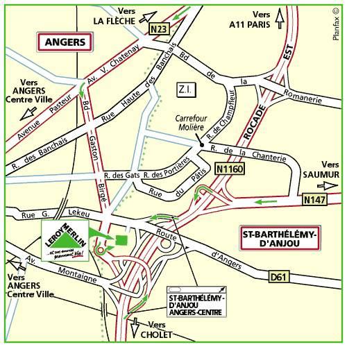 Plan d'accès au magasin Leroy Merlin de Nantes (rezé)