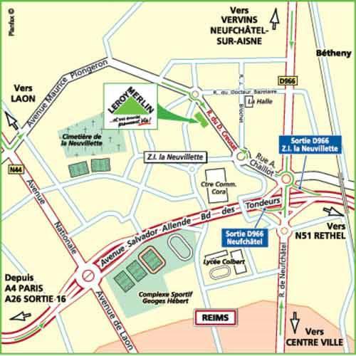 Plan d'accès au magasin Leroy Merlin de Meaux