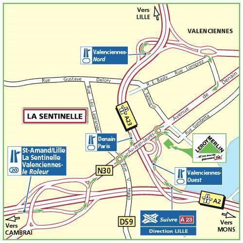 Plan d'accès au magasin Leroy Merlin de Villeneuve d'Ascq