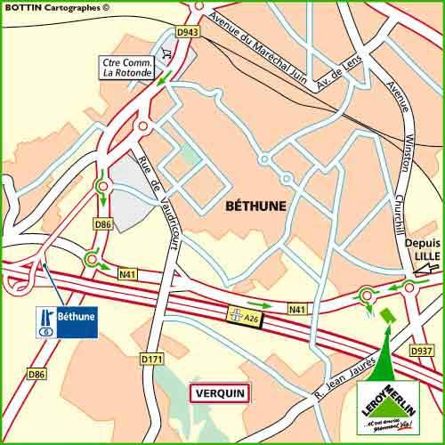 Plan d'accès au magasin Leroy Merlin de Douai (waziers)