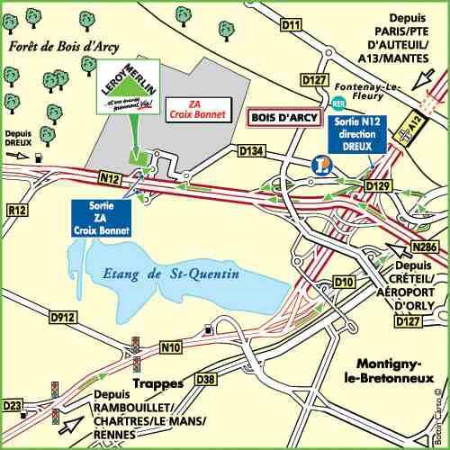 Plan d'accès au magasin Leroy Merlin de Montigny-lès-cormeilles