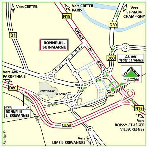 Plan d'accès au magasin Leroy Merlin de Brie-comte-robert