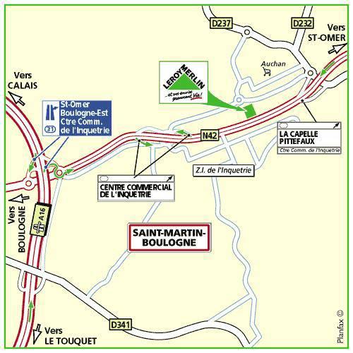 Plan d'accès au magasin Leroy Merlin de Bethune (verquin)