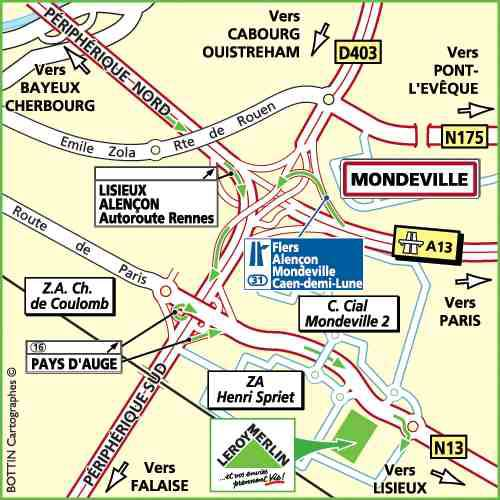 Plan d'accès au magasin Leroy Merlin de Rouen (isneauville)
