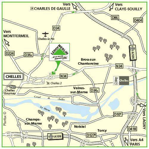 Plan d'accès au magasin Leroy Merlin de Rosny-sous-bois