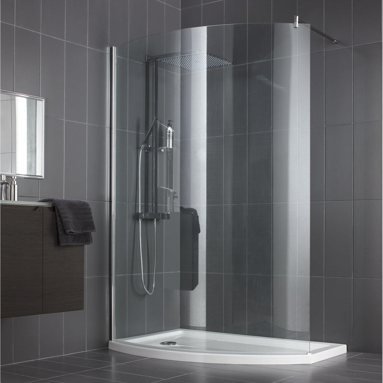 paroi de douche à l'italienne, l.140 cm verre transparent 8 mm look