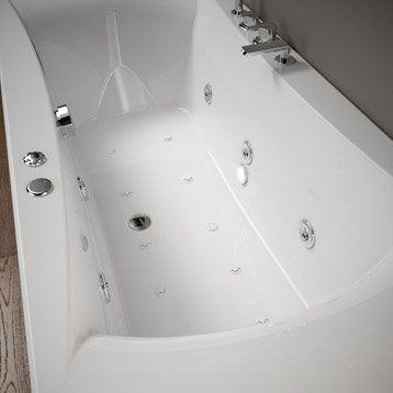 Baignoire balnéo avec robinetterie rectangulaire L.170x l.75 cm, THALA Confort
