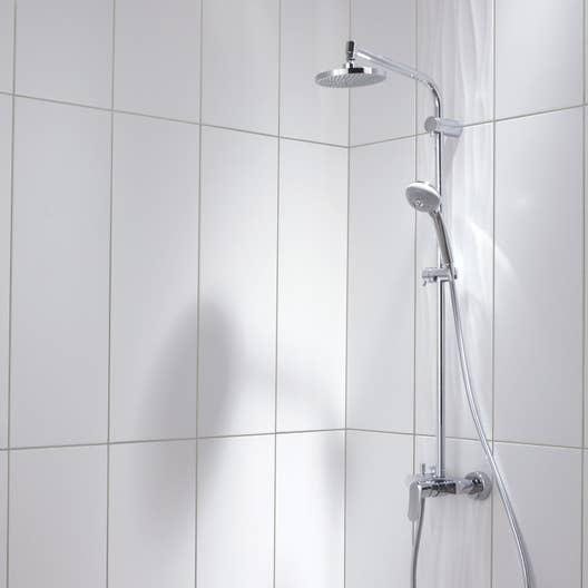 fa ence mur blanc mat d cor relief wave x cm leroy merlin. Black Bedroom Furniture Sets. Home Design Ideas