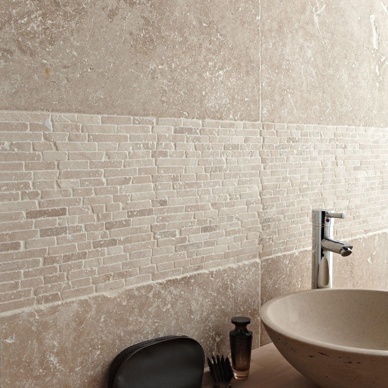 Travertin sol et mur beige effet pierre travertin x for Pose de travertin au sol