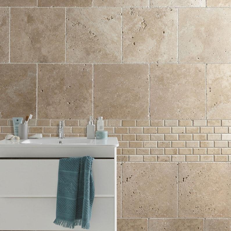 travertin sol et mur beige effet pierre travertin x cm leroy merlin. Black Bedroom Furniture Sets. Home Design Ideas