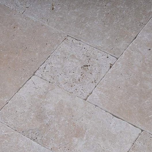 Travertin sol et mur beige effet pierre veritable