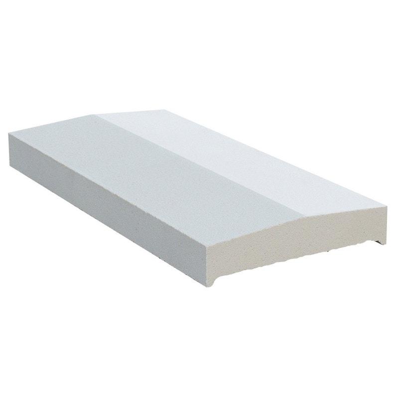 Couvre Mur 2 Pans Lisse Blanc H4 X L28 X P50 Cm
