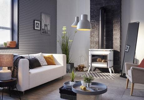 Un salon tendance design aux motifs géométriques