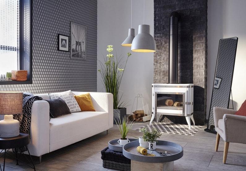 Un salon tendance design aux motifs g om triques leroy merlin - Habiller un mur de salon ...
