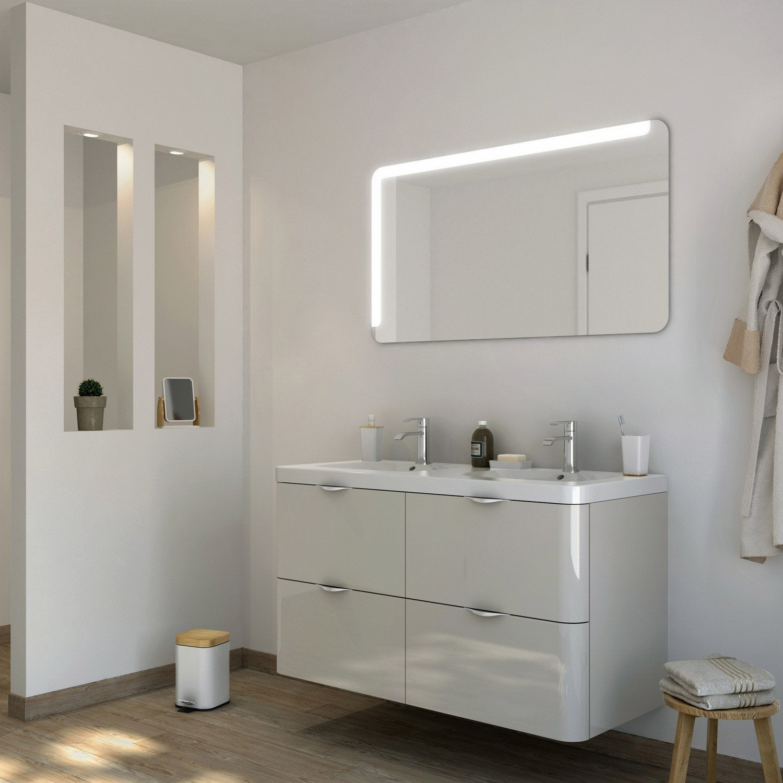 Meuble de salle de bains plus de 120 marron neo shine for Colonne de salle de bain marron