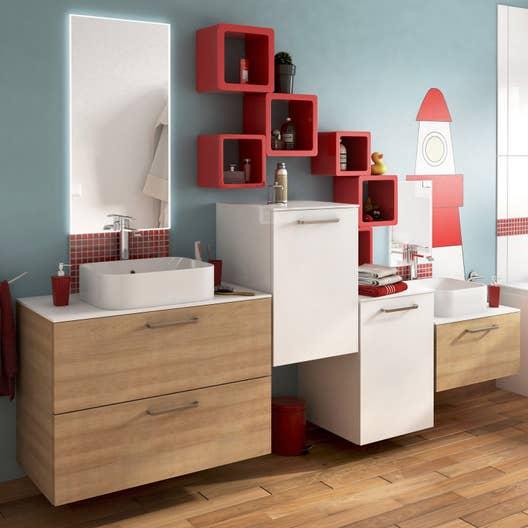 Armoire Salle De Bain Conforama ~ meuble de salle de bains de 80 99 marron neo line leroy merlin