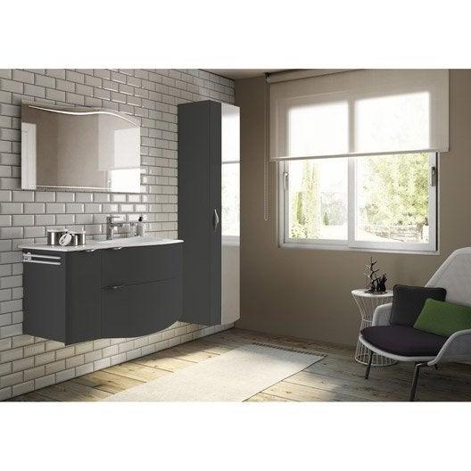 Meuble de salle de bains plus de 120 noir elegance - Leroy merlin lavabo salle de bain ...