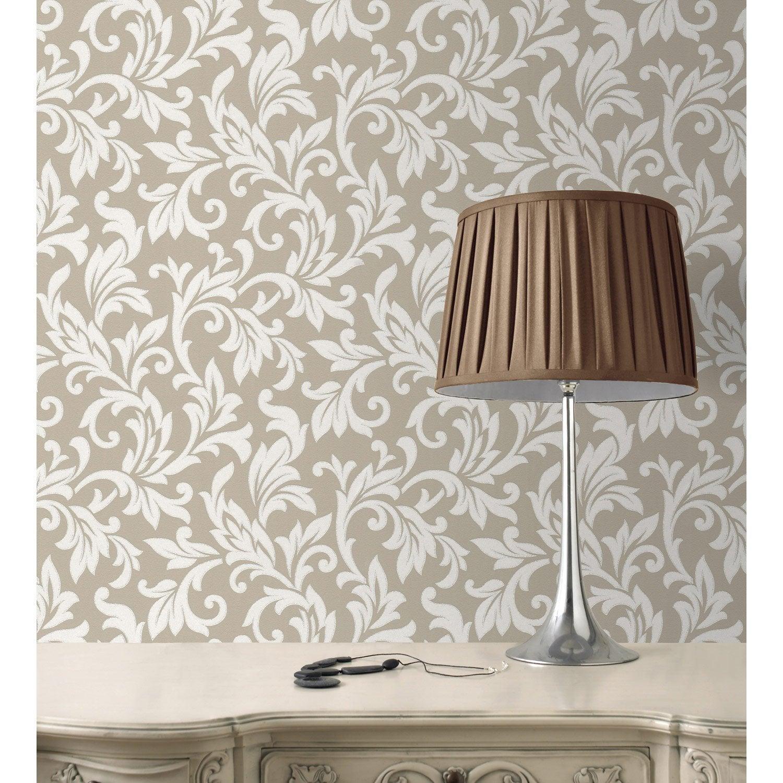 Papier peint papier Medaillon lin | Leroy Merlin