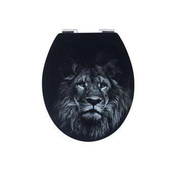 Abattant frein de chute déclipsable noir bois compressé Lion