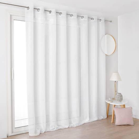 voilage tamisant grande largeur linum blanc x cm leroy merlin. Black Bedroom Furniture Sets. Home Design Ideas