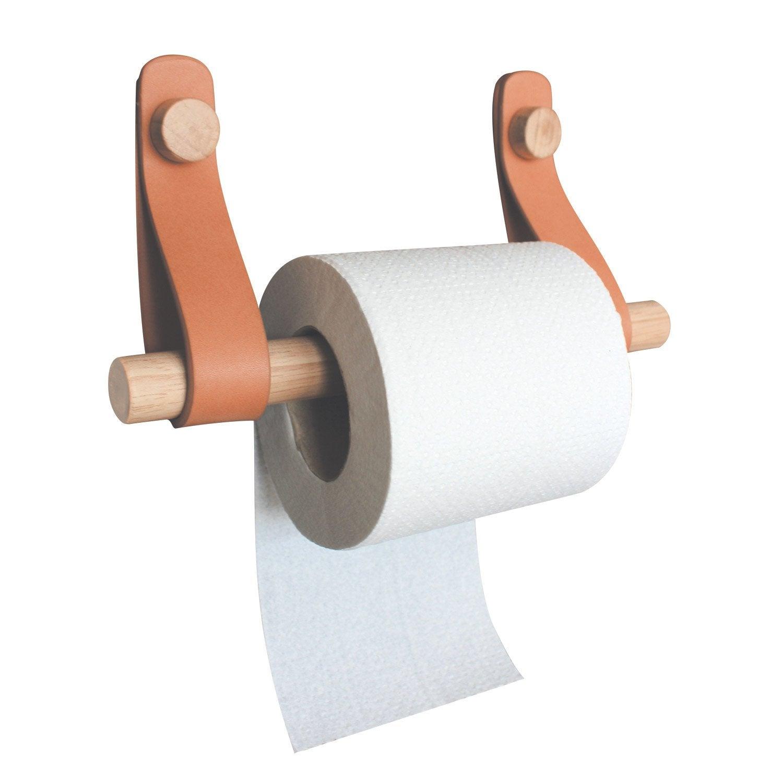 Dérouleur à papier WC bois, cuir et bois, capsule