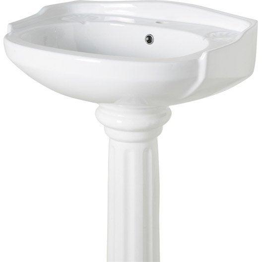 Colonne pour lavabo retro blanc en porcelaine l 27 x l for Lavabo colonne leroy merlin