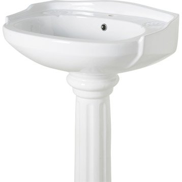 Colonne pour lavabo Retro, blanc en porcelaine, L. 27 x l. 27 cm