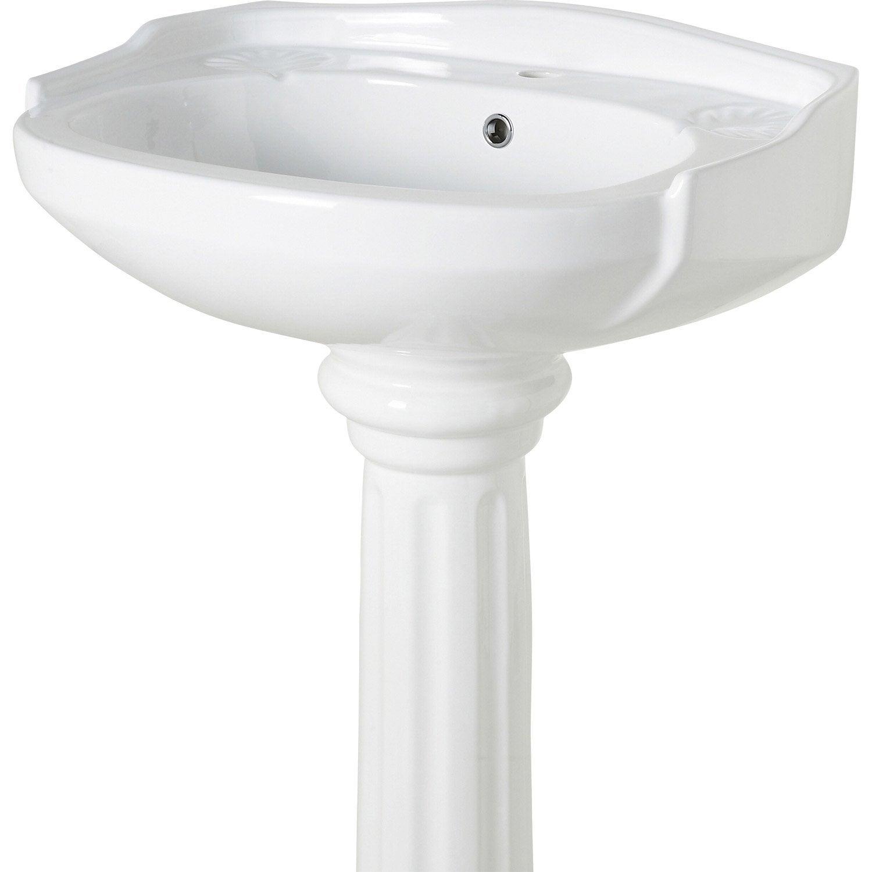 Lavabo pour colonne en céramique, blanc Retro   Leroy Merlin