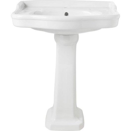 Lavabo pour colonne en c ramique blanc victoria leroy for Lavabo plastique pour garage