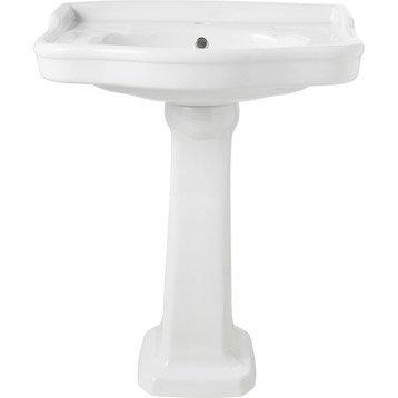 Lavabo Victoria, blanc en céramique, L. 66 x l. 46 cm