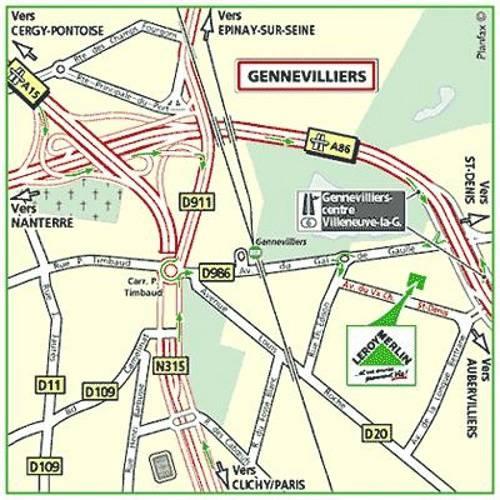 Plan d'accès au magasin Leroy Merlin de Paris beaubourg