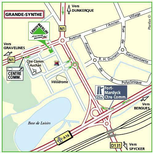Plan d'accès au magasin Leroy Merlin de Tourcoing (roncq)