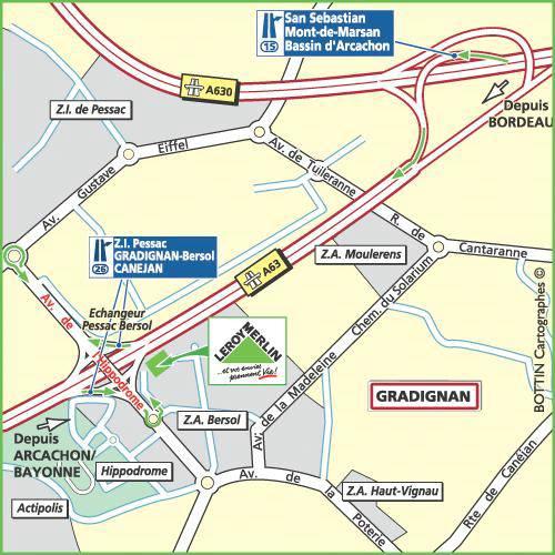 Plan d'accès au magasin Leroy Merlin de Biganos