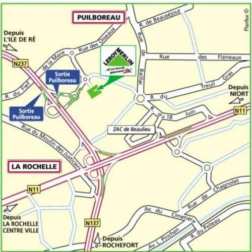 Plan d'accès au magasin Leroy Merlin d'Angoulême (soyaux)
