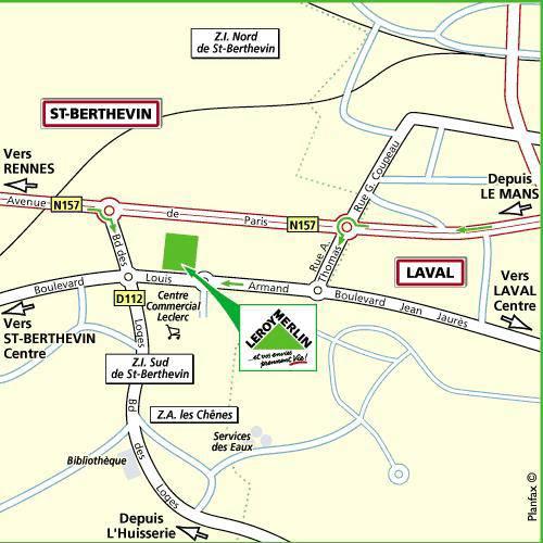 Plan d'accès au magasin Leroy Merlin duLe mans (mulsanne)