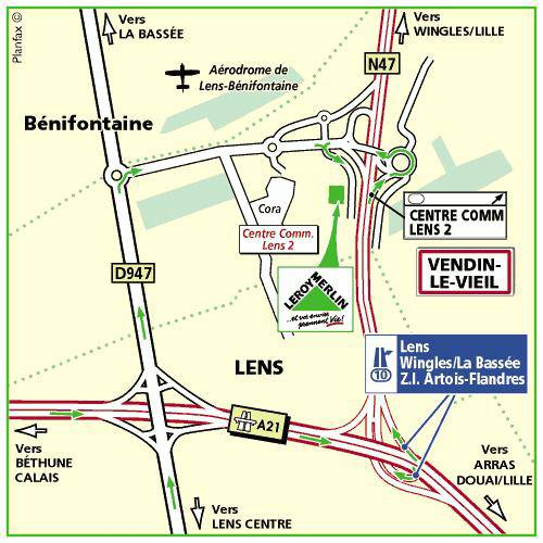 Plan d'accès au magasin Leroy Merlin de Lesquin