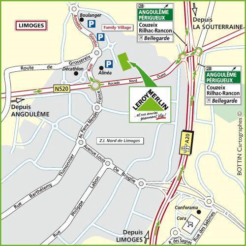 Plan d'accès au magasin Leroy Merlin de Chateauroux (le poinçonnet)