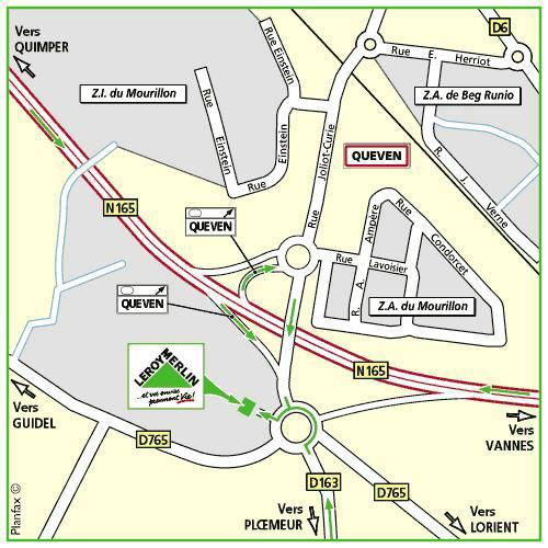 Plan d'accès au magasin Leroy Merlin de Saint brieuc (langueux)