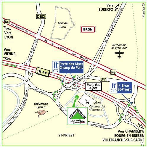 Plan d'accès au magasin Leroy Merlin de Saint etienne (st priest-en-jarez)