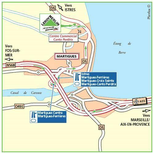 Plan d'accès au magasin Leroy Merlin d'Aubagne