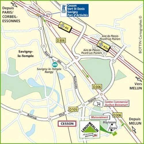 Plan d'accès au magasin Leroy Merlin de Massy